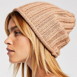 Free People Rose Tan Rory Beanie Hat NWT